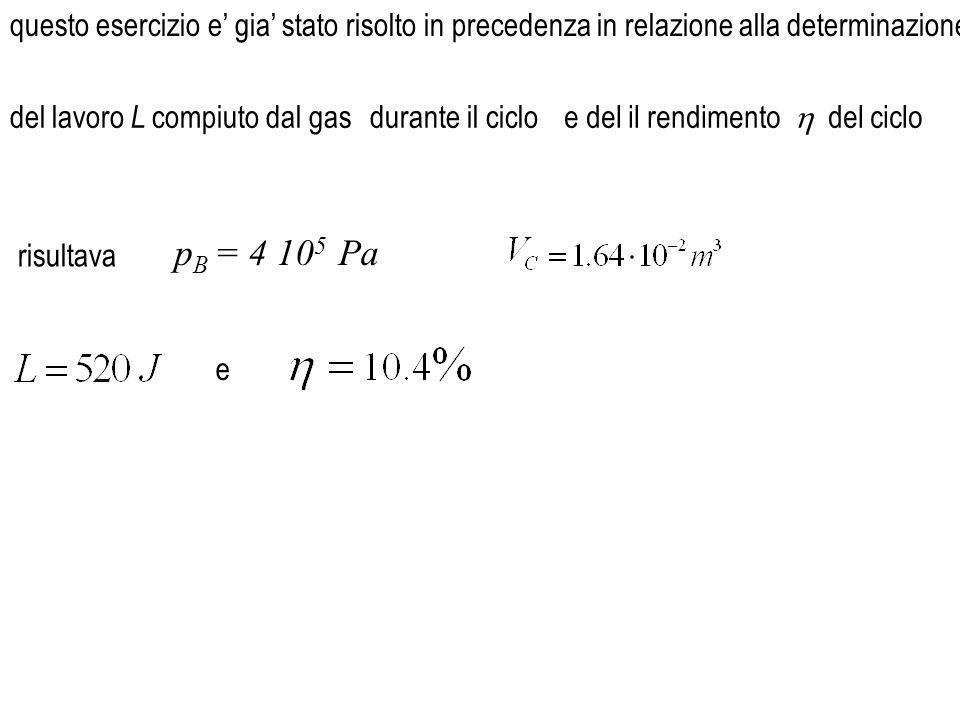 per determinare la temperatura T C utilizzeremo la relazione di Poisson da cui dunque