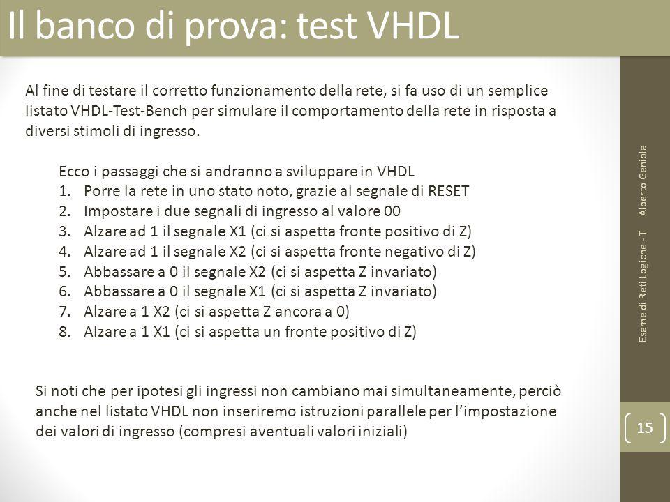Il banco di prova: test VHDL Alberto Geniola Esame di Reti Logiche - T 15 Al fine di testare il corretto funzionamento della rete, si fa uso di un sem