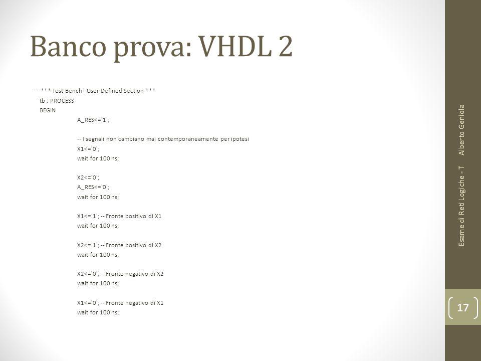 Banco prova: VHDL 2 -- *** Test Bench - User Defined Section *** tb : PROCESS BEGIN A_RES<='1'; -- I segnali non cambiano mai contemporaneamente per i