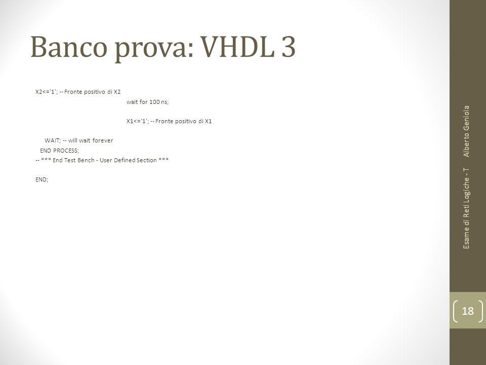 Banco prova: VHDL 3 X2<='1'; -- Fronte positivo di X2 wait for 100 ns; X1<='1'; -- Fronte positivo di X1 WAIT; -- will wait forever END PROCESS; -- **