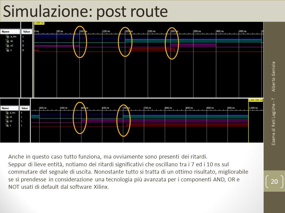 Simulazione: post route Alberto Geniola Esame di Reti Logiche - T 20 Anche in questo caso tutto funziona, ma ovviamente sono presenti dei ritardi. Sep