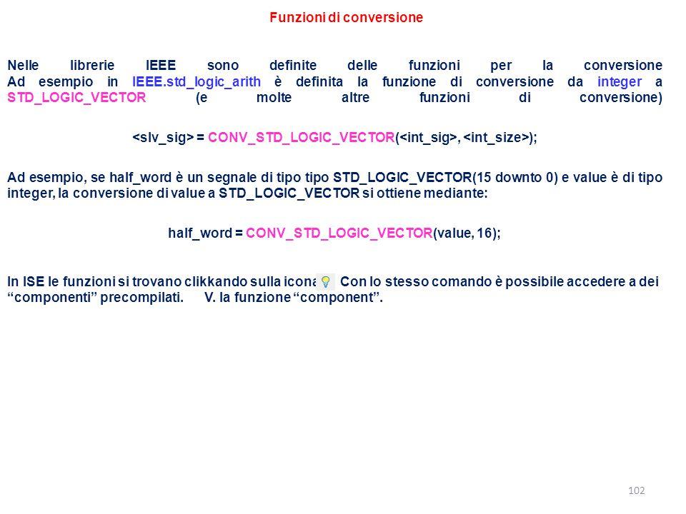 Funzioni di conversione 102 Nelle librerie IEEE sono definite delle funzioni per la conversione Ad esempio in IEEE.std_logic_arith è definita la funzi