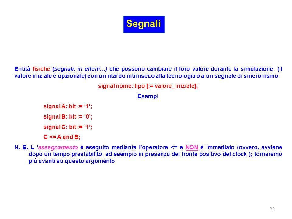 Segnali Entità fisiche (segnali, in effetti…) che possono cambiare il loro valore durante la simulazione (il valore iniziale è opzionale) con un ritar