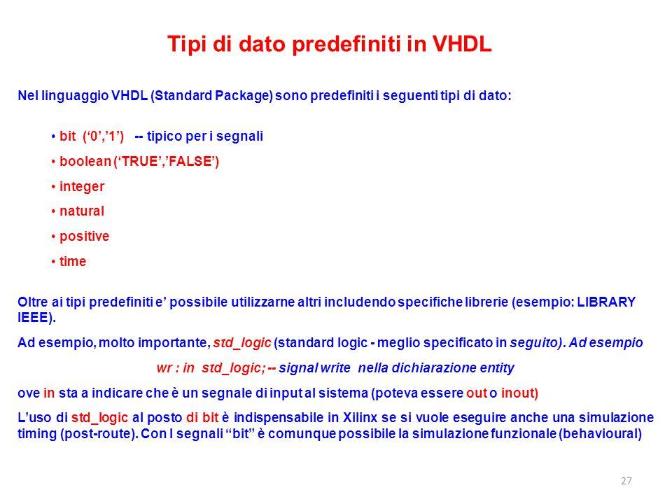 Tipi di dato predefiniti in VHDL Nel linguaggio VHDL (Standard Package) sono predefiniti i seguenti tipi di dato: bit ('0','1') -- tipico per i segnal