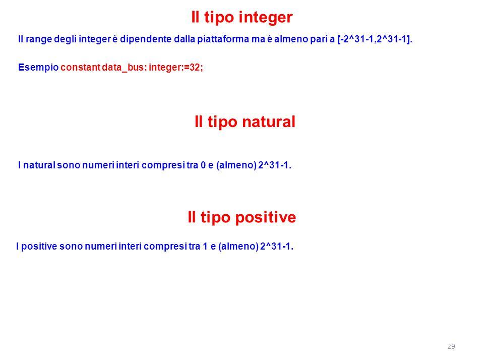 Il tipo integer Il range degli integer è dipendente dalla piattaforma ma è almeno pari a [-2^31-1,2^31-1]. Esempio constant data_bus: integer:=32; Il