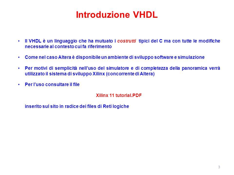 Il VHDL è un linguaggio che ha mutuato i costrutti tipici del C ma con tutte le modifiche necessarie al contesto cui fa riferimento Come nel caso Alte