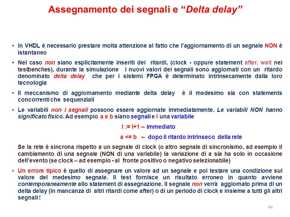"""Assegnamento dei segnali e """"Delta delay"""" In VHDL è necessario prestare molta attenzione al fatto che l'aggiornamento di un segnale NON è istantaneo Ne"""