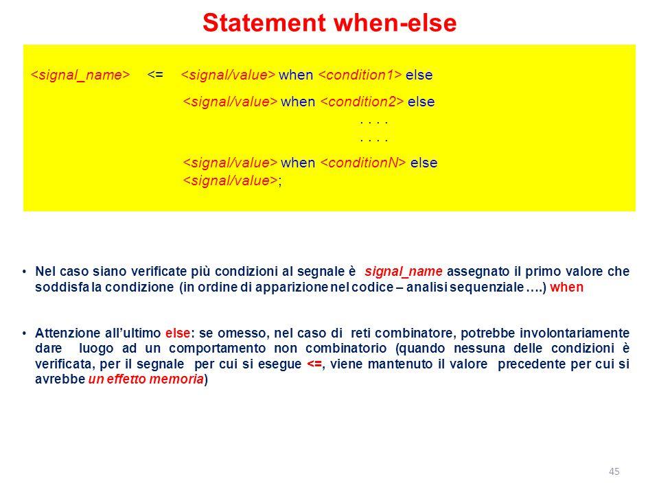 Statement when-else when else when else........ when else ; Nel caso siano verificate più condizioni al segnale è signal_name assegnato il primo valor