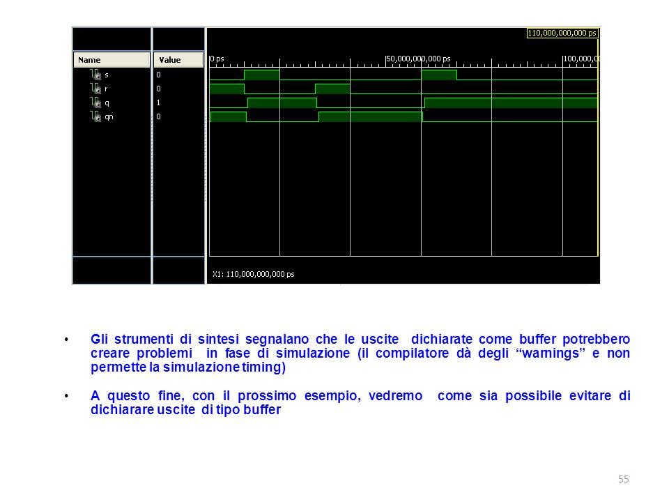 """Gli strumenti di sintesi segnalano che le uscite dichiarate come buffer potrebbero creare problemi in fase di simulazione (il compilatore dà degli """"wa"""