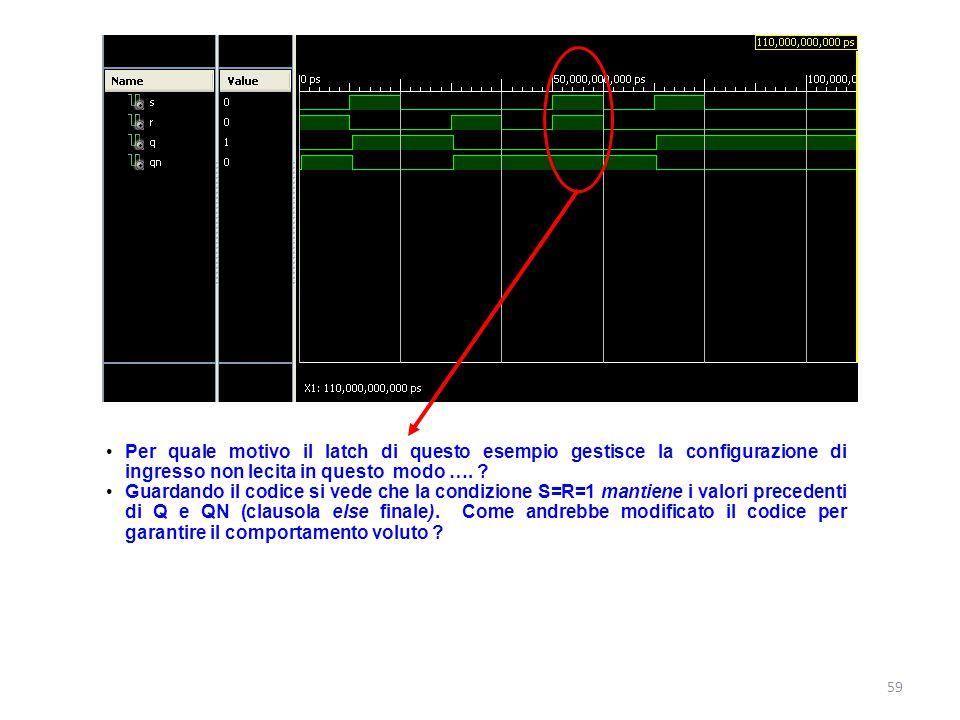 Per quale motivo il latch di questo esempio gestisce la configurazione di ingresso non lecita in questo modo …. ? Guardando il codice si vede che la c