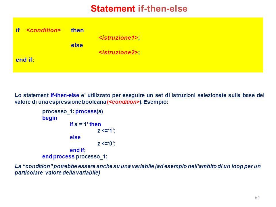 if then ; else ; end if; Lo statement if-then-else e' utilizzato per eseguire un set di istruzioni selezionate sulla base del valore di una espression