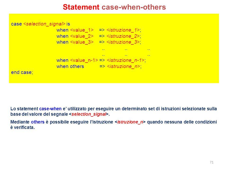 case is when => ; when => ;............ when => ; when others => ; end case; Lo statement case-when e' utilizzato per eseguire un determinato set di i