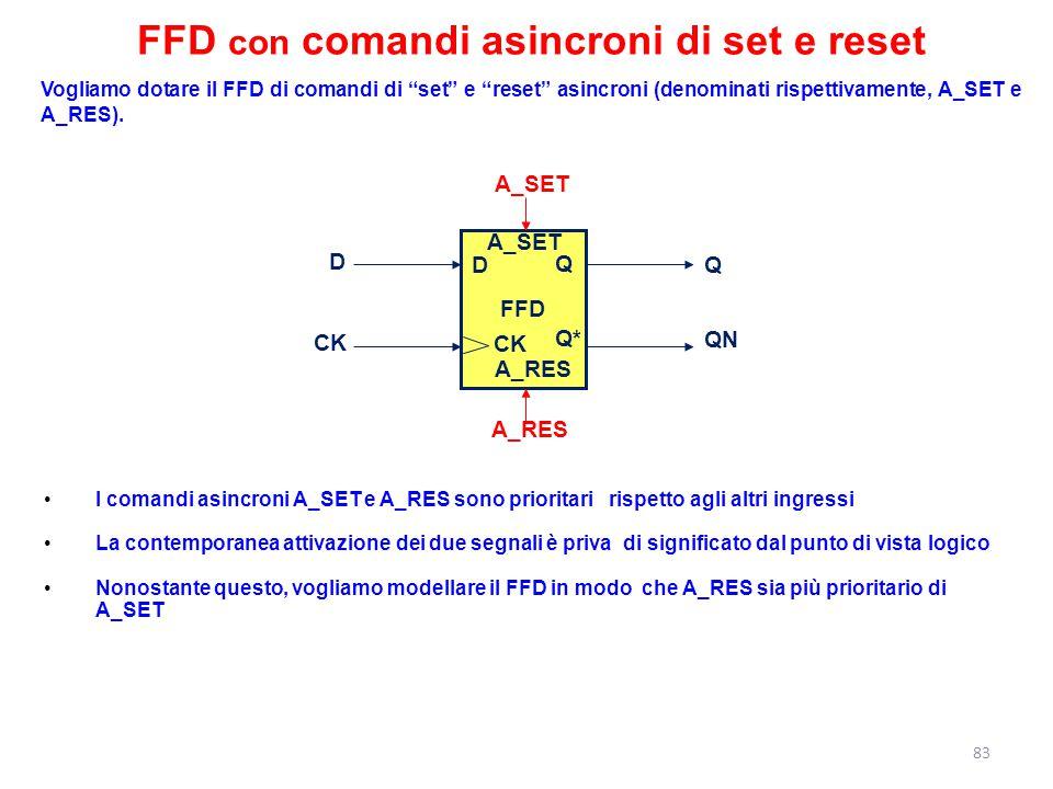 """Vogliamo dotare il FFD di comandi di """"set"""" e """"reset"""" asincroni (denominati rispettivamente, A_SET e A_RES). I comandi asincroni A_SET e A_RES sono pri"""