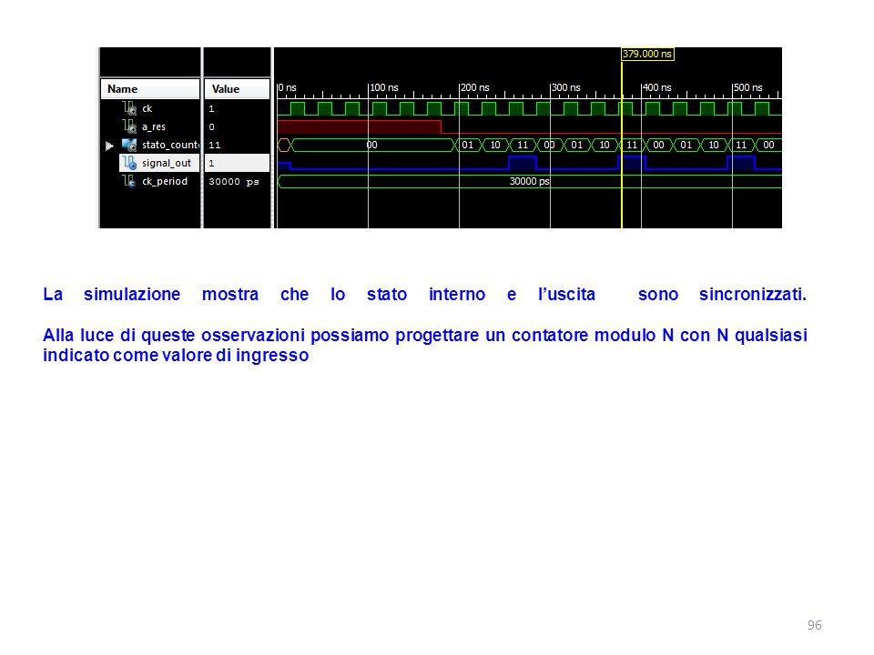 La simulazione mostra che lo stato interno e l'uscita sono sincronizzati. Alla luce di queste osservazioni possiamo progettare un contatore modulo N c