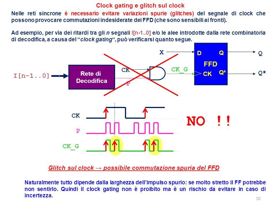 Clock gating e glitch sul clock Nelle reti sincrone è necessario evitare variazioni spurie (glitches) del segnale di clock che possono provocare commu