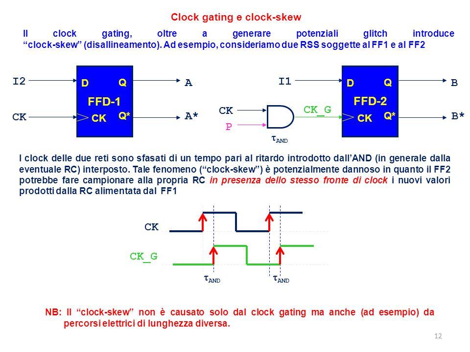 """Il clock gating, oltre a generare potenziali glitch introduce """"clock-skew"""" (disallineamento). Ad esempio, consideriamo due RSS soggette al FF1 e al FF"""