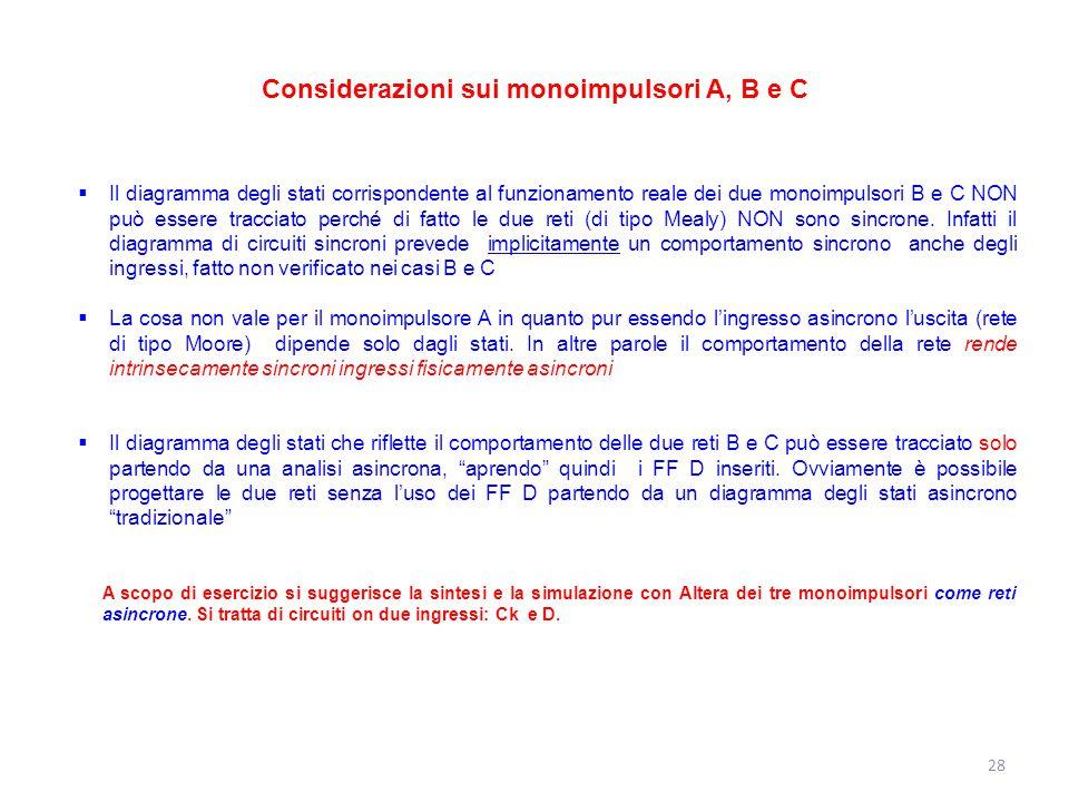 28 Considerazioni sui monoimpulsori A, B e C  Il diagramma degli stati corrispondente al funzionamento reale dei due monoimpulsori B e C NON può esse