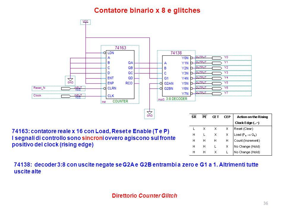 36 74163: contatore reale x 16 con Load, Reset e Enable (T e P) I segnali di controllo sono sincroni ovvero agiscono sul fronte positivo del clock (ri