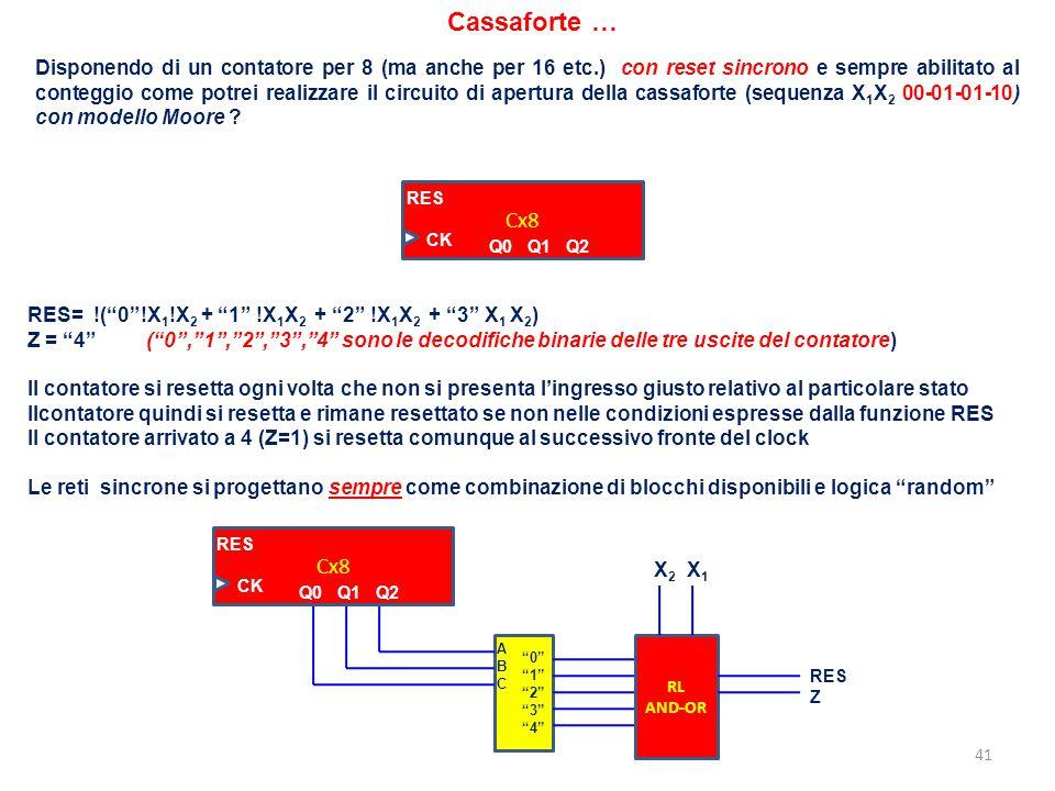 41 Cassaforte … Disponendo di un contatore per 8 (ma anche per 16 etc.) con reset sincrono e sempre abilitato al conteggio come potrei realizzare il c
