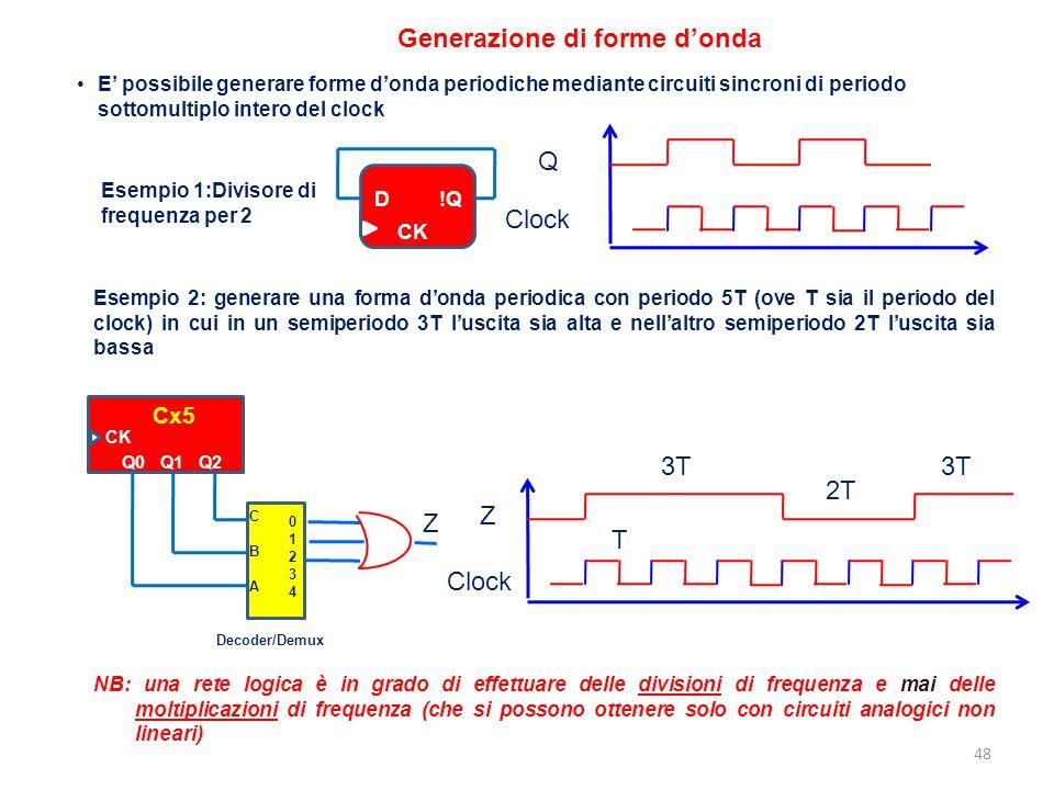 48 Generazione di forme d'onda E' possibile generare forme d'onda periodiche mediante circuiti sincroni di periodo sottomultiplo intero del clock Esem