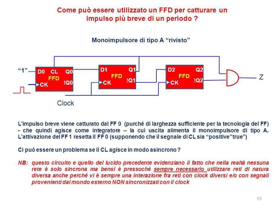 """53 Come può essere utilizzato un FFD per catturare un impulso più breve di un periodo ? D2Q2 !Q2 CK FFD Z Clock D1Q1 !Q1 CK FFD D0Q00 !Q0 CK FFD """"1"""" C"""