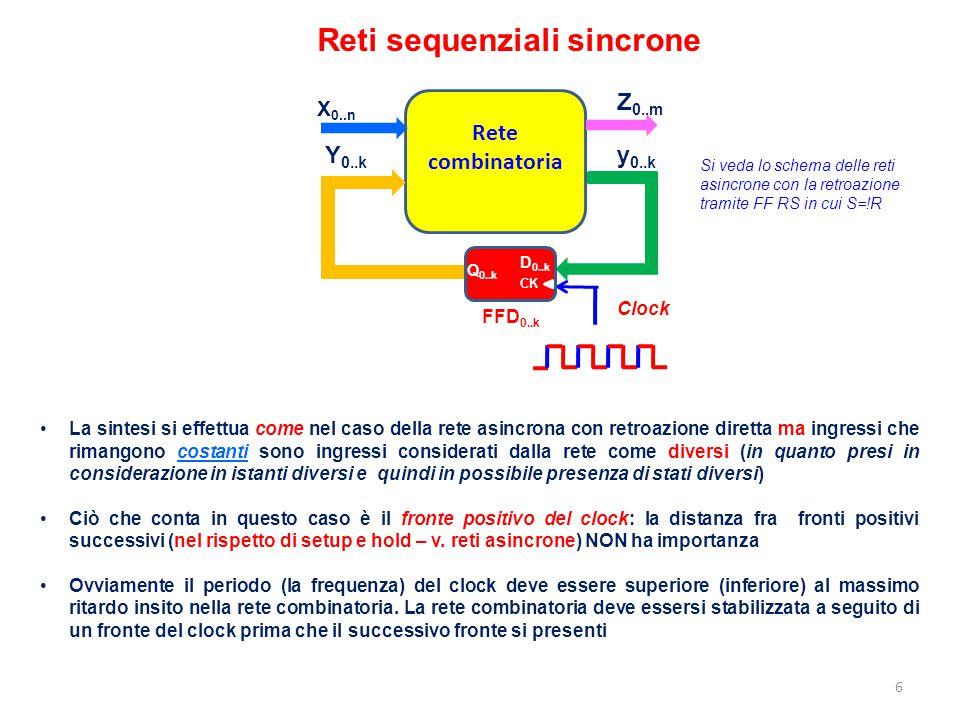 17 Cassaforte sincrona Classi di equivalenza [AFG]=>   B]=>  [C]=>  [D]=>  [E]=>  B 00011110 FA G A BCAG B BDAG C BFAE D BFAG E BFAA-G F BFAG G 0 0 0 0 1 0 0 X1X1 X2X2 B C D E F G ABCDEF CF FDCD CF GE CF GE DF GE ---CFDFGE ---C FDFGE--  00011110            X1X1 X2X2 0 0 0 0 1 NB: nel caso di tabelle completamente specificate le classi (massime) di equivalenza non hanno mai stati in comune.