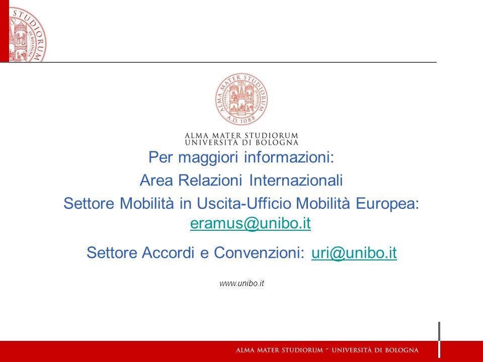 Per maggiori informazioni: Area Relazioni Internazionali Settore Mobilità in Uscita-Ufficio Mobilità Europea: eramus@unibo.it eramus@unibo.it Settore Accordi e Convenzioni: uri@unibo.ituri@unibo.it www.unibo.it
