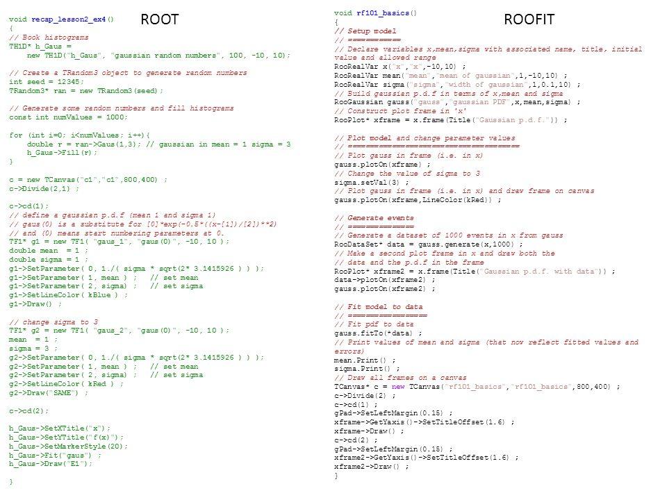 /57 RooFit Introduction to RooFitIntroduction to RooFit slides da 15 a 34 Laboratorio Analisi Statistica dei Dati per HEP - G.