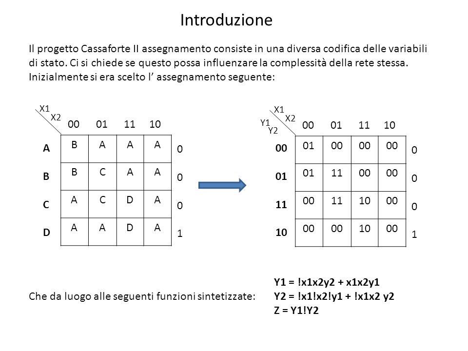 Il progetto Cassaforte II assegnamento consiste in una diversa codifica delle variabili di stato.