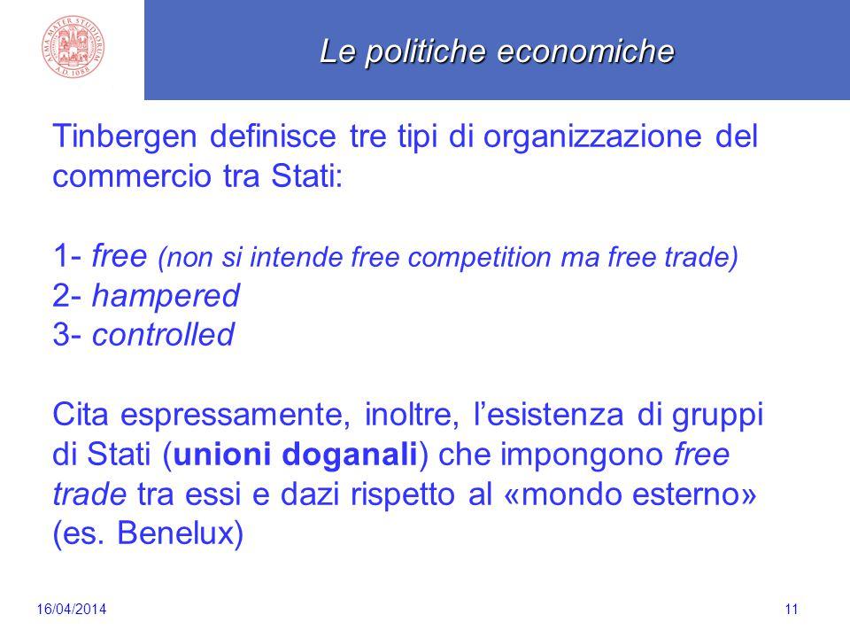 Scaletta 11 Tinbergen definisce tre tipi di organizzazione del commercio tra Stati: 1- free (non si intende free competition ma free trade) 2- hampered 3- controlled Cita espressamente, inoltre, l'esistenza di gruppi di Stati (unioni doganali) che impongono free trade tra essi e dazi rispetto al «mondo esterno» (es.