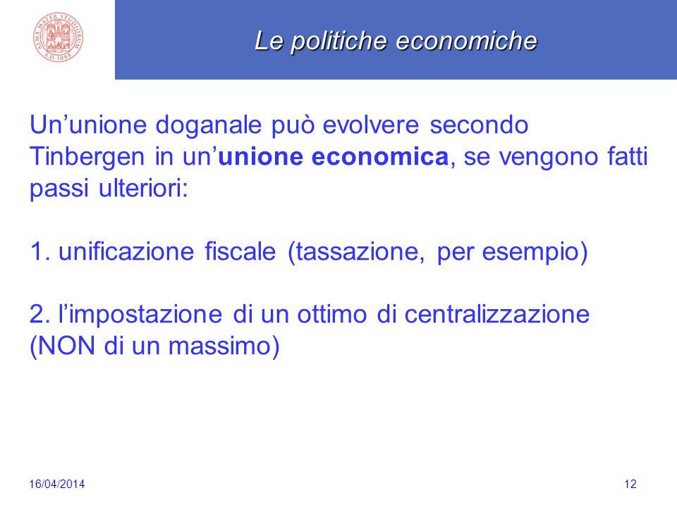 Scaletta 12 Un'unione doganale può evolvere secondo Tinbergen in un'unione economica, se vengono fatti passi ulteriori: 1. unificazione fiscale (tassa