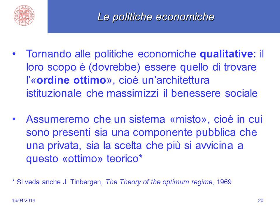 Scaletta 20 Tornando alle politiche economiche qualitative: il loro scopo è (dovrebbe) essere quello di trovare l'«ordine ottimo», cioè un'architettura istituzionale che massimizzi il benessere sociale Assumeremo che un sistema «misto», cioè in cui sono presenti sia una componente pubblica che una privata, sia la scelta che più si avvicina a questo «ottimo» teorico* * Si veda anche J.