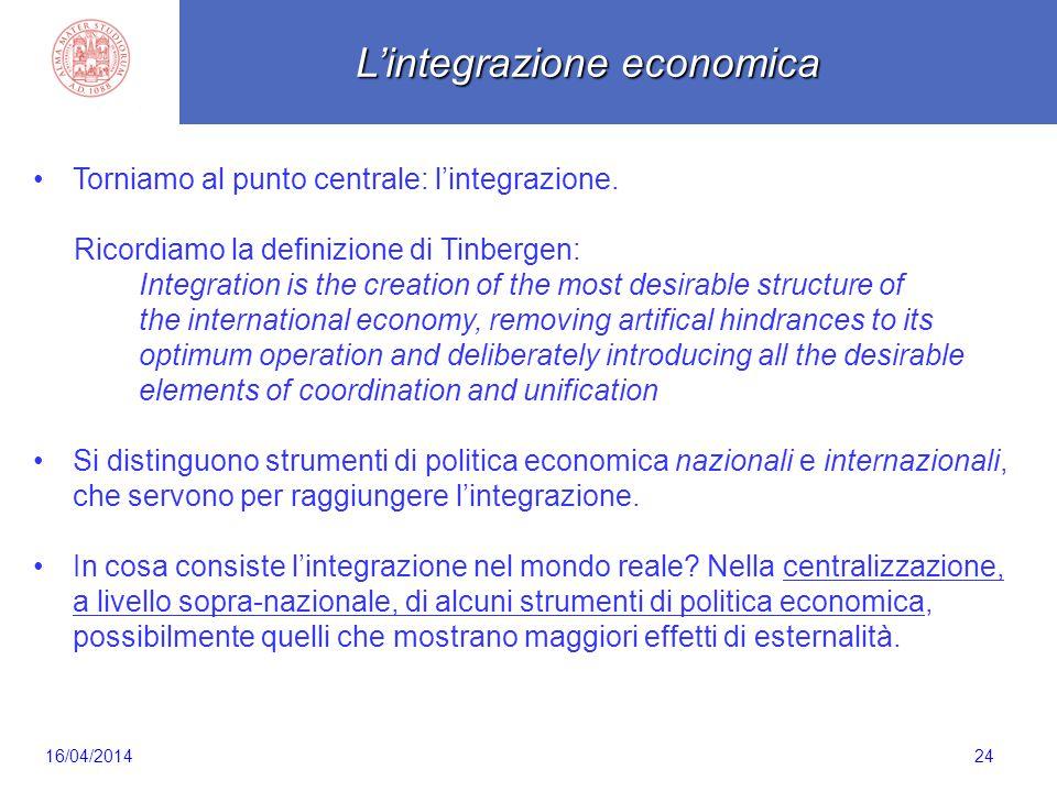 Scaletta 24 Torniamo al punto centrale: l'integrazione. Ricordiamo la definizione di Tinbergen: Integration is the creation of the most desirable stru