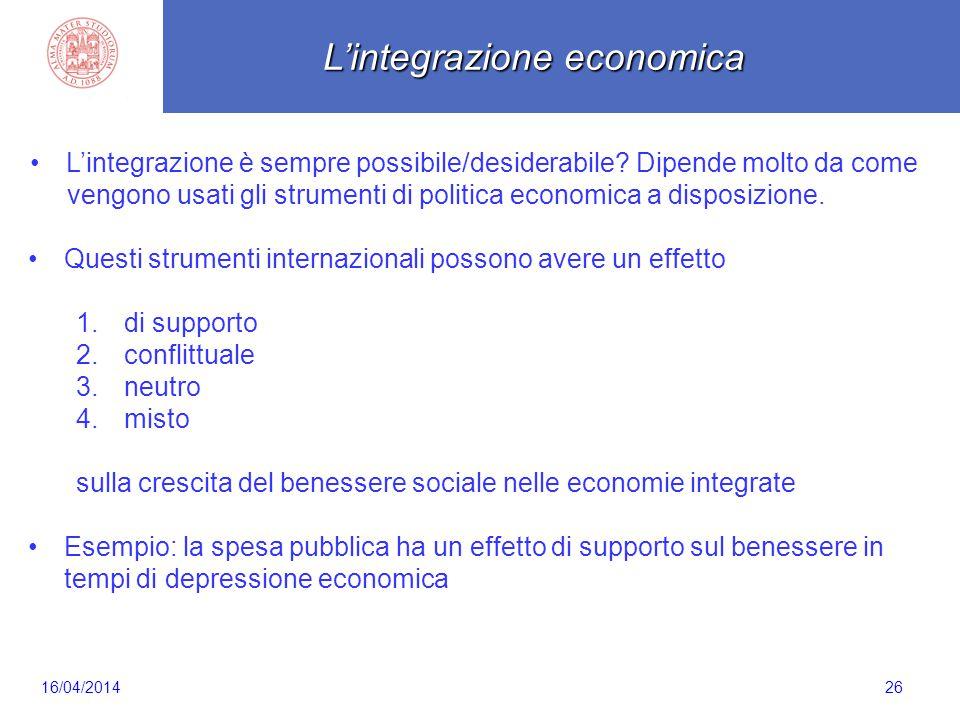 Scaletta 26 L'integrazione è sempre possibile/desiderabile? Dipende molto da come vengono usati gli strumenti di politica economica a disposizione. Qu