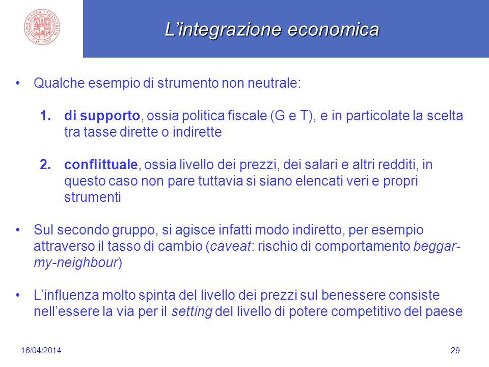 Scaletta 29 Qualche esempio di strumento non neutrale: 1.di supporto, ossia politica fiscale (G e T), e in particolate la scelta tra tasse dirette o i