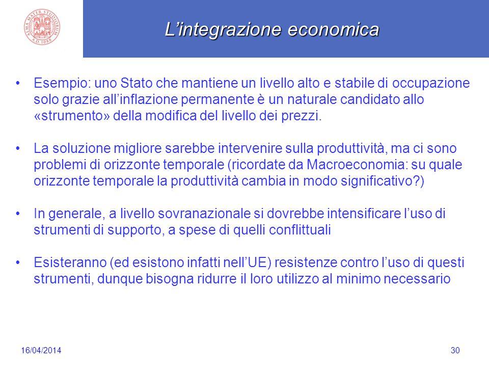 Scaletta 30 Esempio: uno Stato che mantiene un livello alto e stabile di occupazione solo grazie all'inflazione permanente è un naturale candidato all