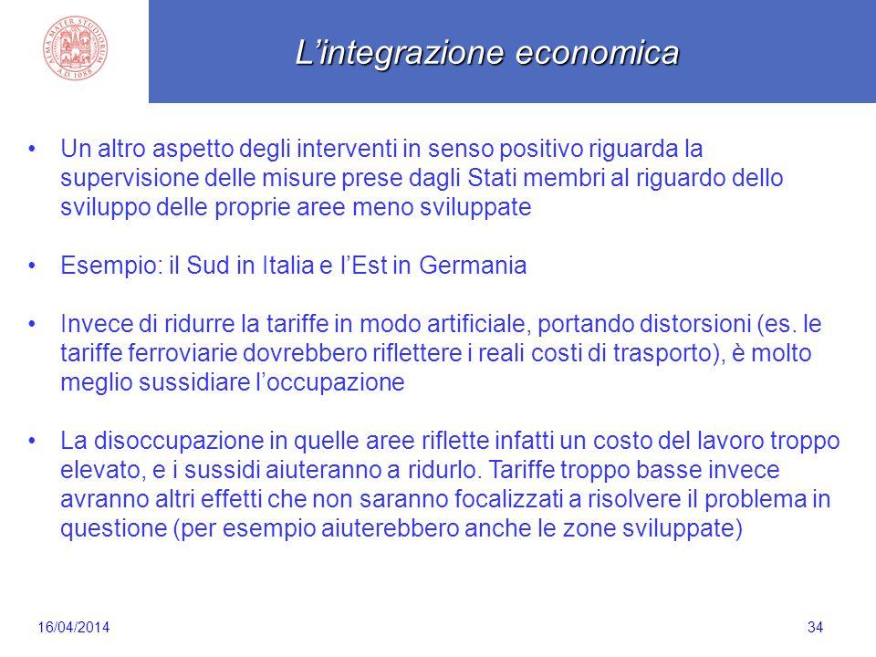 Scaletta 34 Un altro aspetto degli interventi in senso positivo riguarda la supervisione delle misure prese dagli Stati membri al riguardo dello svilu