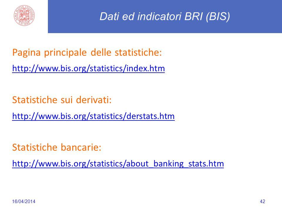 42 Pagina principale delle statistiche: http://www.bis.org/statistics/index.htm Statistiche sui derivati: http://www.bis.org/statistics/derstats.htm Statistiche bancarie: http://www.bis.org/statistics/about_banking_stats.htm Dati ed indicatori BRI (BIS) 16/04/2014