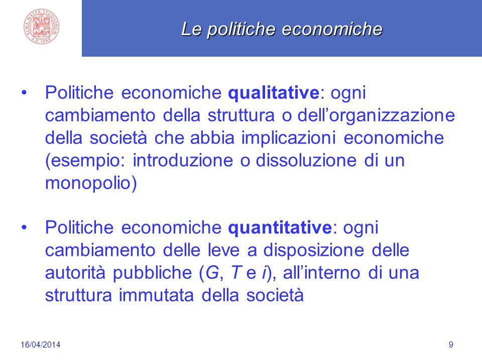 9 Politiche economiche qualitative: ogni cambiamento della struttura o dell'organizzazione della società che abbia implicazioni economiche (esempio: i