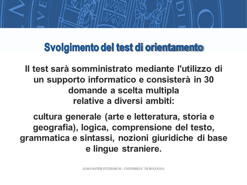 6 Il test si svolgerà in due sessioni: la prima tra il 15 e il 19 settembre sarà aperta a tutti gli immatricolati entro il 15 settembre.