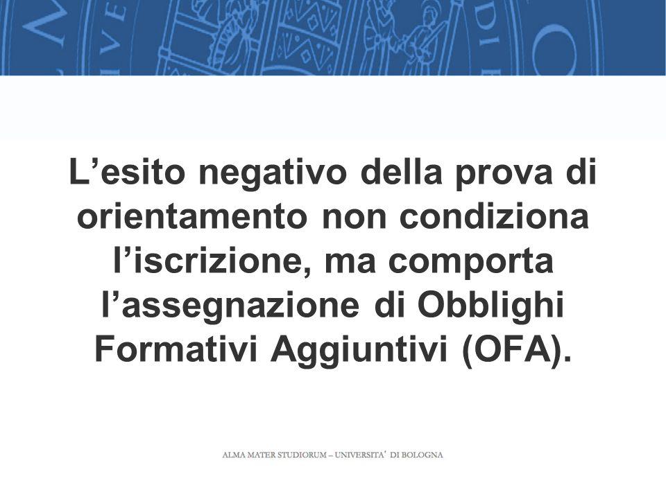L'esito negativo della prova di orientamento non condiziona l'iscrizione, ma comporta l'assegnazione di Obblighi Formativi Aggiuntivi (OFA).