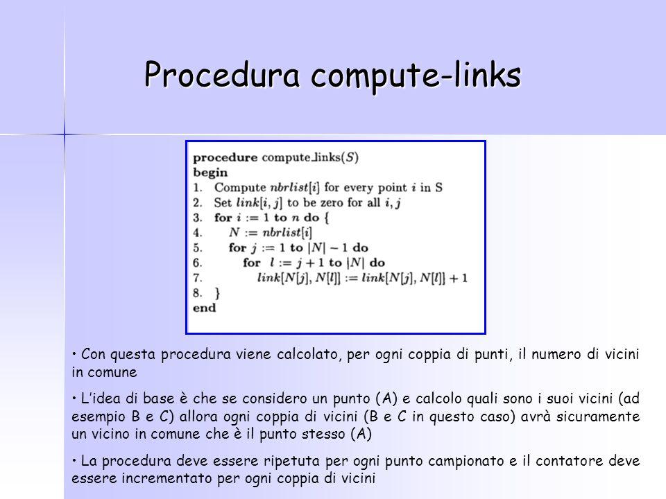 Procedura compute-links Con questa procedura viene calcolato, per ogni coppia di punti, il numero di vicini in comune L'idea di base è che se considero un punto (A) e calcolo quali sono i suoi vicini (ad esempio B e C) allora ogni coppia di vicini (B e C in questo caso) avrà sicuramente un vicino in comune che è il punto stesso (A) La procedura deve essere ripetuta per ogni punto campionato e il contatore deve essere incrementato per ogni coppia di vicini