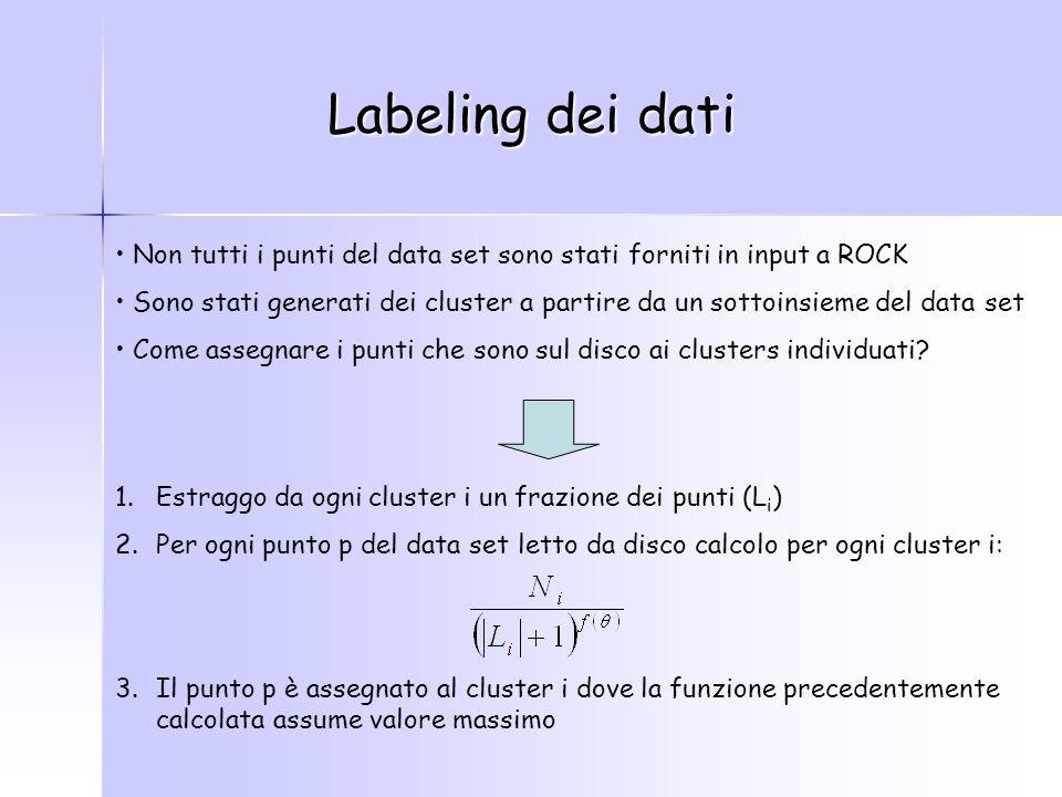 Labeling dei dati Non tutti i punti del data set sono stati forniti in input a ROCK Sono stati generati dei cluster a partire da un sottoinsieme del data set Come assegnare i punti che sono sul disco ai clusters individuati.