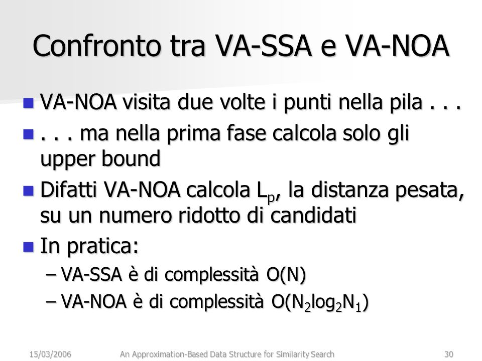 15/03/2006An Approximation-Based Data Structure for Similarity Search30 Confronto tra VA-SSA e VA-NOA VA-NOA visita due volte i punti nella pila...