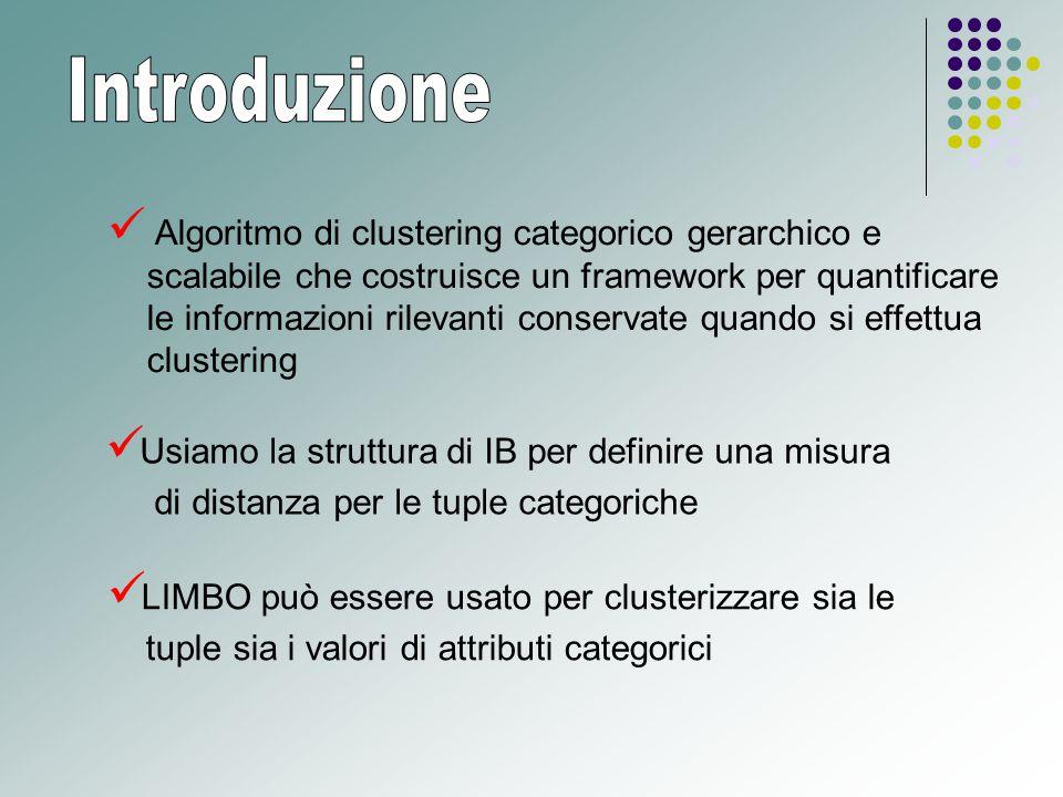 Usiamo la struttura di IB per definire una misura di distanza per le tuple categoriche LIMBO può essere usato per clusterizzare sia le tuple sia i valori di attributi categorici Algoritmo di clustering categorico gerarchico e scalabile che costruisce un framework per quantificare le informazioni rilevanti conservate quando si effettua clustering