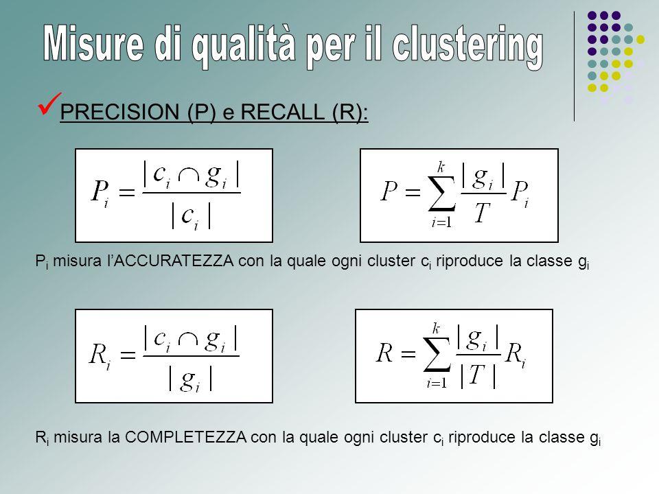 PRECISION (P) e RECALL (R): P i misura l'ACCURATEZZA con la quale ogni cluster c i riproduce la classe g i R i misura la COMPLETEZZA con la quale ogni cluster c i riproduce la classe g i