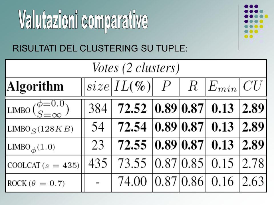 RISULTATI DEL CLUSTERING SU TUPLE: