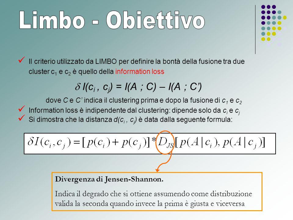 Il criterio utilizzato da LIMBO per definire la bontà della fusione tra due cluster c 1 e c 2 è quello della information loss  I(c i, c j ) = I(A ; C) – I(A ; C') dove C e C' indica il clustering prima e dopo la fusione di c 1 e c 2 Information loss è indipendente dal clustering: dipende solo da c i e c j Si dimostra che la distanza d(c i, c j ) è data dalla seguente formula: Divergenza di Jensen-Shannon.