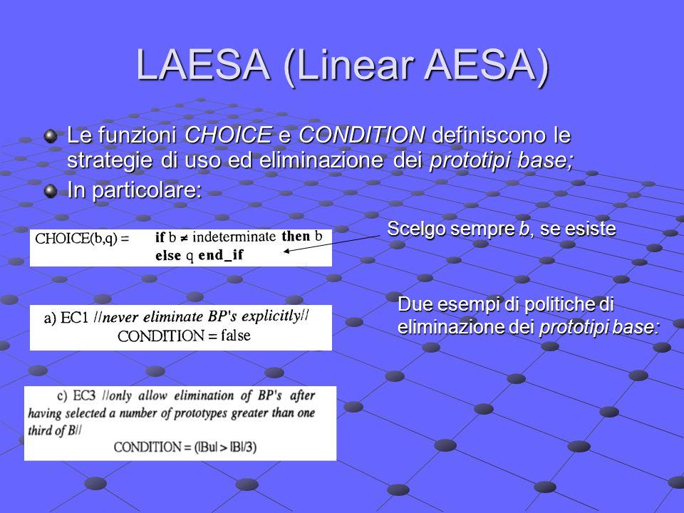 LAESA (Linear AESA) Le funzioni CHOICE e CONDITION definiscono le strategie di uso ed eliminazione dei prototipi base; In particolare: Scelgo sempre b, se esiste Due esempi di politiche di eliminazione dei prototipi base: