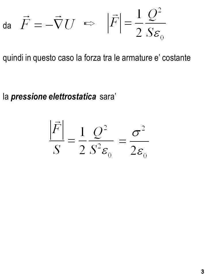 4 la pressione elettrostatica e' pari alla densita' se lo spostamento fosse stato fatto a d.d.p.